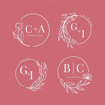 Collection of floral wedding logos