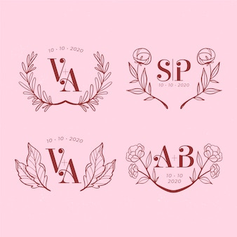 Collection of floral wedding monograms