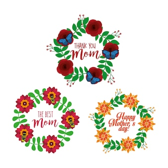 Collection floral wreath decoration mothers day