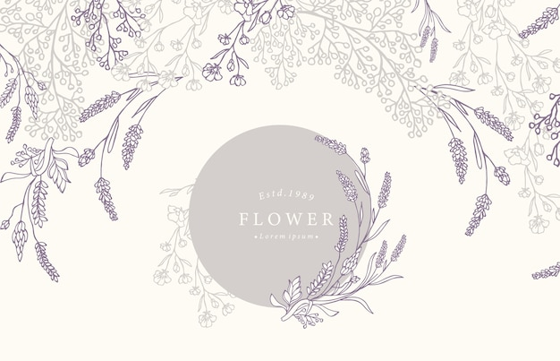 Collection of flower background set with lavender