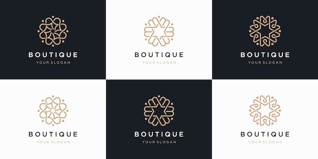 Collection of flower logo s with line art style