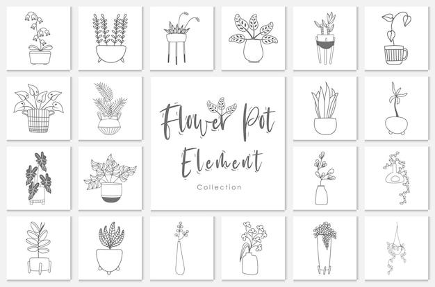 컬렉션 꽃 냄비 요소 선 그리기 그림