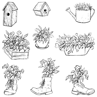 Collection of flower pots, wooden bird houses. vintage garden set. hand drawn vector illustration. floral contour elements isolated on white for design, decor, prints.