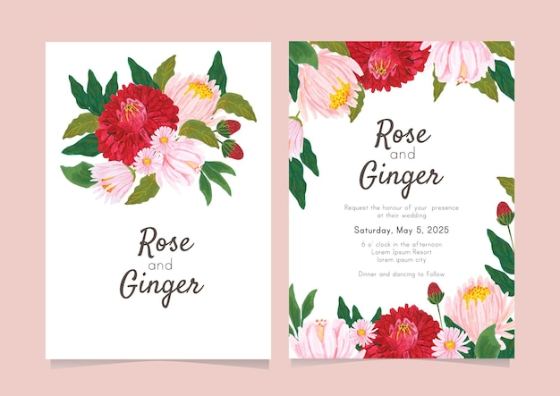 Collection of flower wedding card