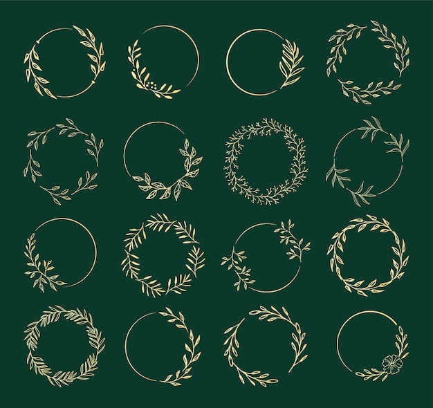 A collection of flower wreaths for wedding invitations or holiday decor.