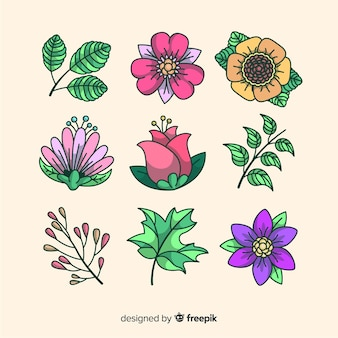 Collection of flowers and leaves background