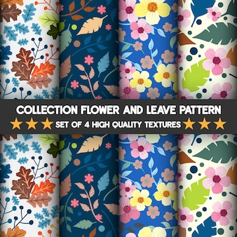 Collection of flowers and leaves high quality textures pattern and seamless.