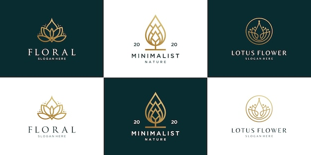Collection of flowers logo design