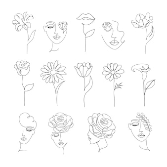 Collection of flowers and women in one line drawing style on white background.