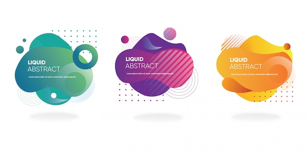 Collection of fluid gradient banner with abstract shape for web or social media template