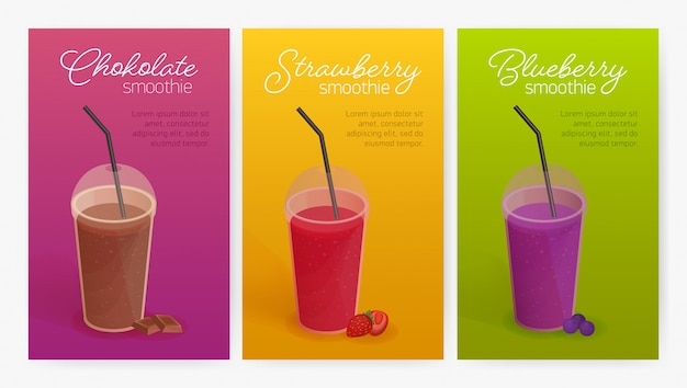 Collection of flyer or poster templates with delicious smoothies or healthy tasty detox drinks in plastic glasses with lid and straw. colorful illustration for advertisement, promotion.