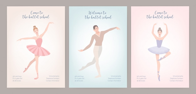 Collection of flyer templates with elegantly dressed male and female ballet dancers in various poses. flat cartoon illustration for classic dance.