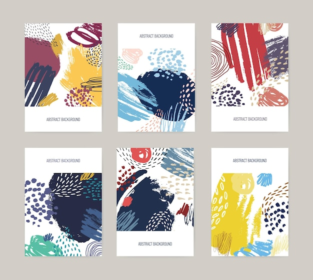 Collection flyers templates with abstract bright colored paint blotches, stains, drops, scribble, brush strokes on white