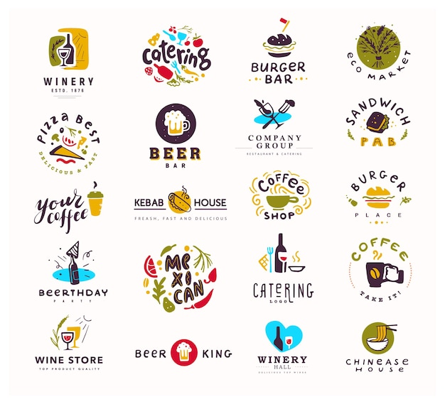 Collection of food and alcohol logo set isolated on white background.