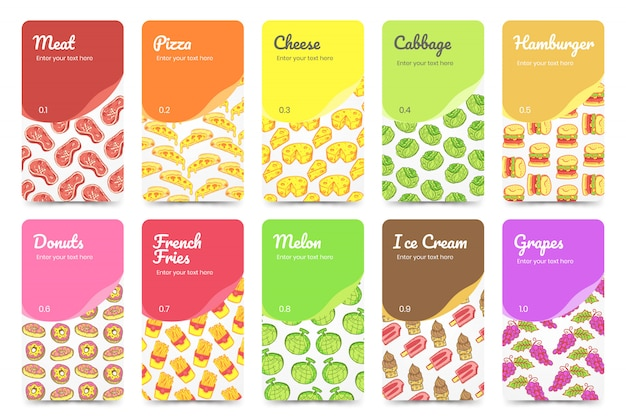 Collection food cards