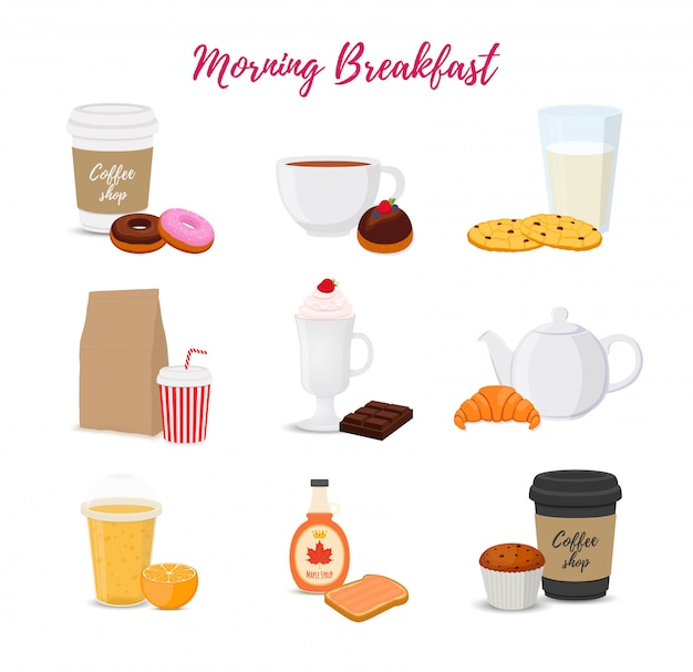 Collection of food, drinks for breakfast