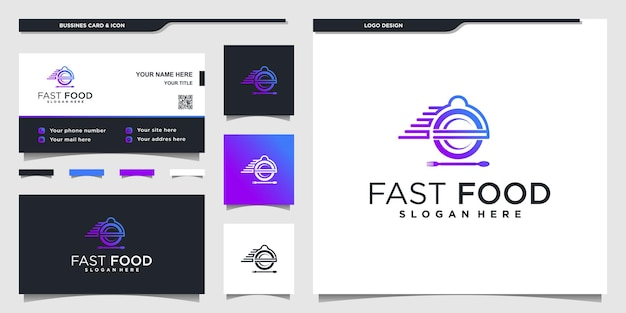 Collection of food logos for restaurant with unique gradient colors and businnes card design premium vector