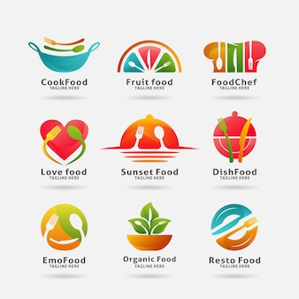 Collection of food and restaurant logo