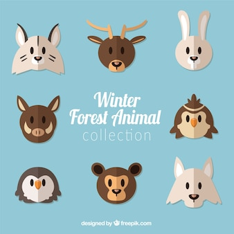 Collection of forest animals in flat design