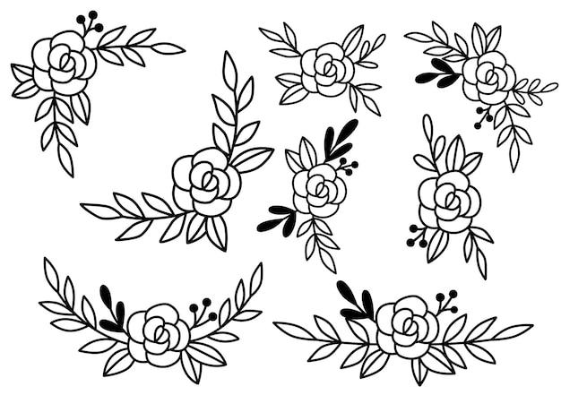 コレクション森のシダユーカリアートの葉自然の葉のハーブをラインスタイルで。デザイン手描き花の装飾的な美しさエレガントなイラスト Premiumベクター