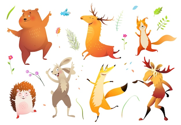 Collection of forest wild baby animals