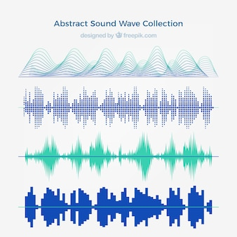 Collection of four abstract sound waves