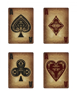 Collection of four aces in vintage style.