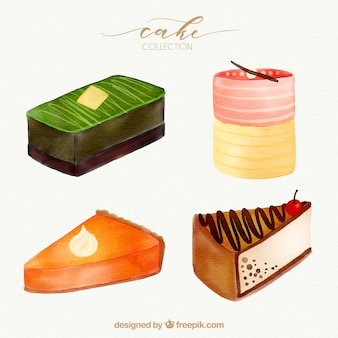 Collection of four beautiful watercolor cakes