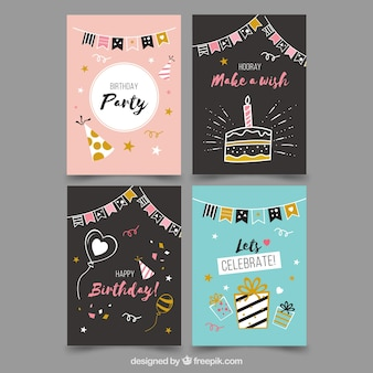 Collection of four birthday cards in flat design