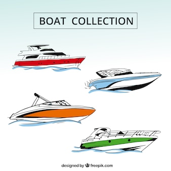 Raccolta di quattro barche con i particolari di colore