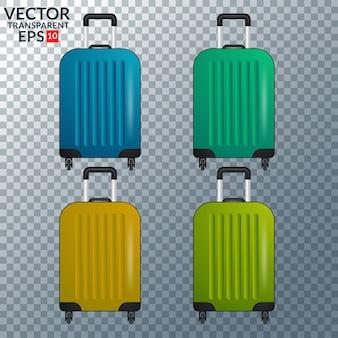 Collection of four color luggage travel case isolated