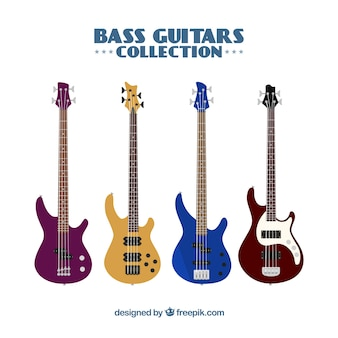 Collection of four colored bass guitars