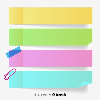 Collection of four colorful post notes in realistic style