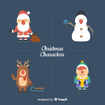 Collection of four cute christmas characters