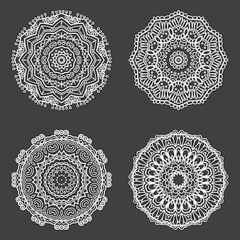 Collection of four decorative mandala design