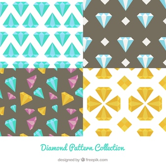 Collection of four diamond patterns in flat design