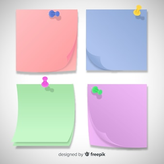 Collection of four different sticky notes in realistic style