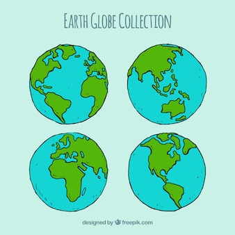 Collection of four earth globes in hand-drawn style