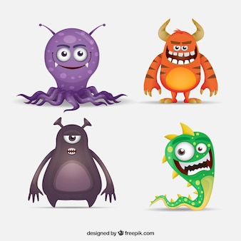 Collection of four funny monster characters
