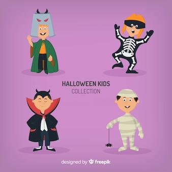 Raccolta di quattro personaggi di bambini halloween