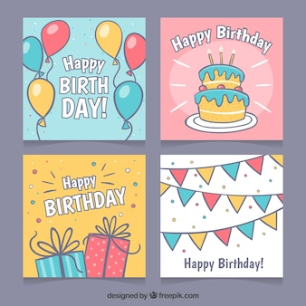 Collection of four hand drawn birthday cards