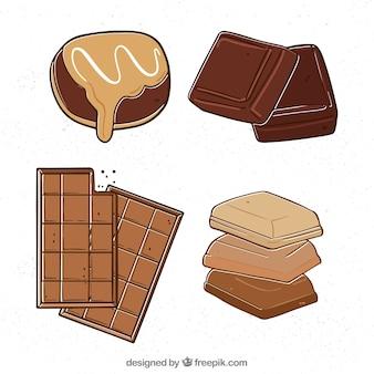 Raccolta di quattro barrette di cioccolato disegnati a mano