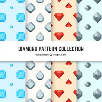Collection of four patterns with flat diamonds