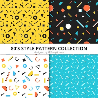 Collection of four patterns with geometric elements in flat design