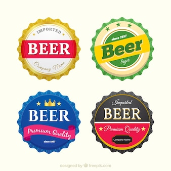 Collection of four round beer stickers in realistic design