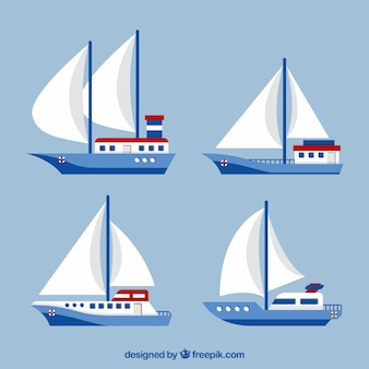 Collection of four sailboats in flat design