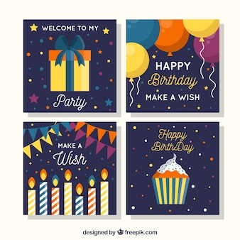 Collection of four square birthday cards in flat design