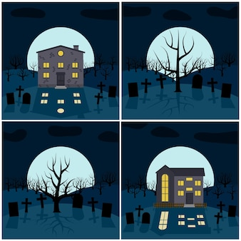 Collection of four vector illustrations for halloween
