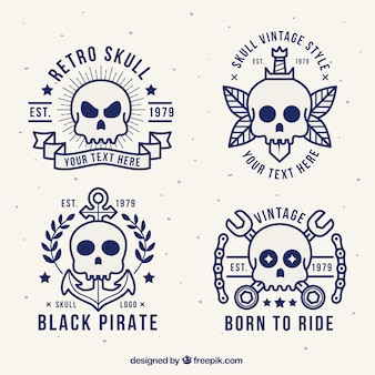 Collection of four vintage skull logos