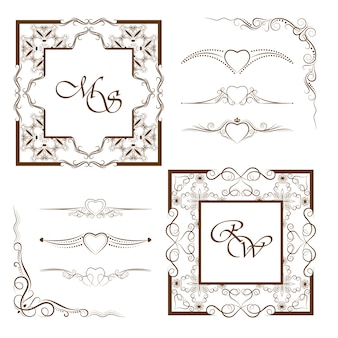Collection of frames and dividers.